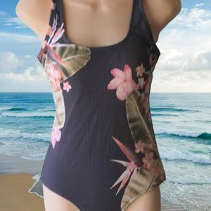 Kona Sol Gray Ribbed/Floral 1 Pc Swimsuit Sz Small